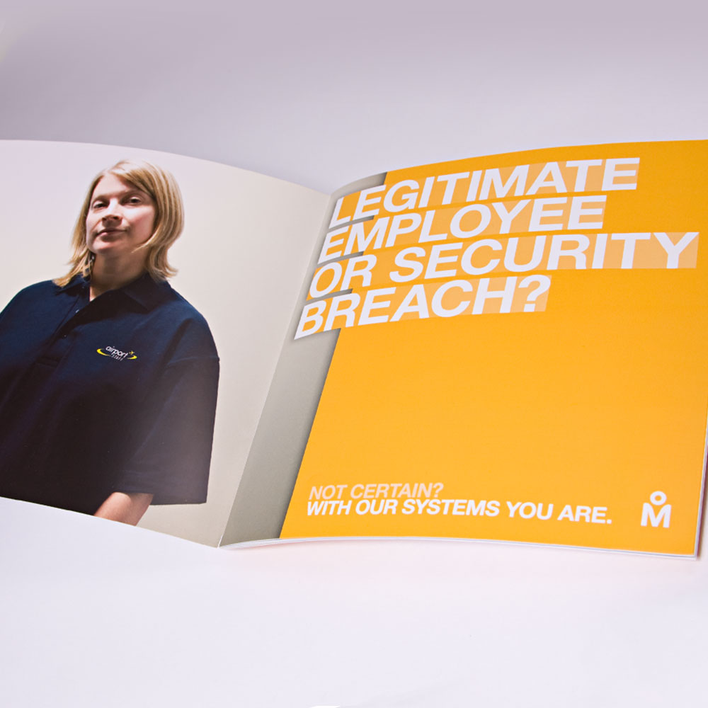 Airport biometrics brochure spread